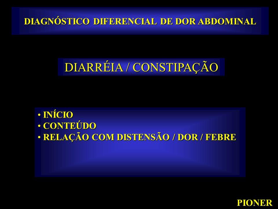 DIAGNÓSTICO DIFERENCIAL DE DOR ABDOMINAL PIONER DIARRÉIA / CONSTIPAÇÃO INÍCIO INÍCIO CONTEÚDO CONTEÚDO RELAÇÃO COM DISTENSÃO / DOR / FEBRE RELAÇÃO COM