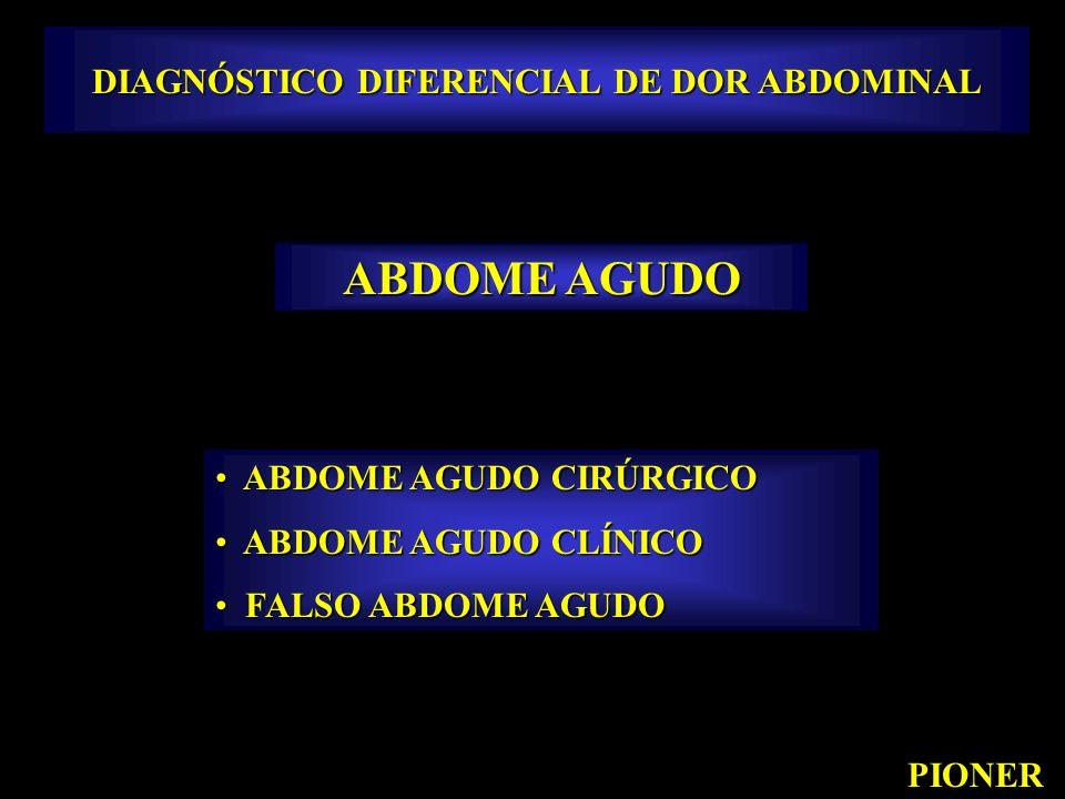 DIAGNÓSTICO DIFERENCIAL DE DOR ABDOMINAL PIONER ABDOME AGUDO ABDOME AGUDO CIRÚRGICO ABDOME AGUDO CIRÚRGICO ABDOME AGUDO CLÍNICO ABDOME AGUDO CLÍNICO F
