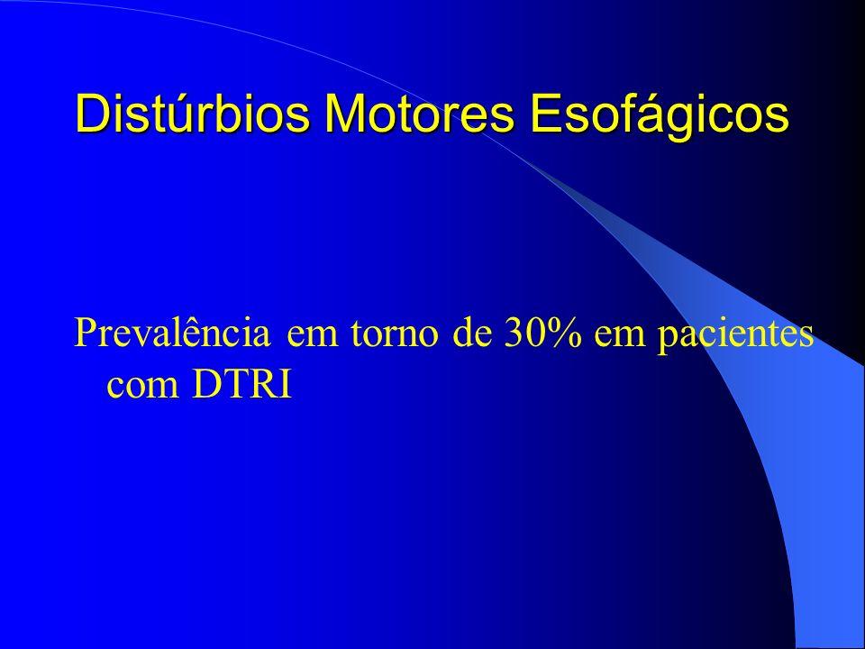 Distúrbios Motores Esofágicos Prevalência em torno de 30% em pacientes com DTRI