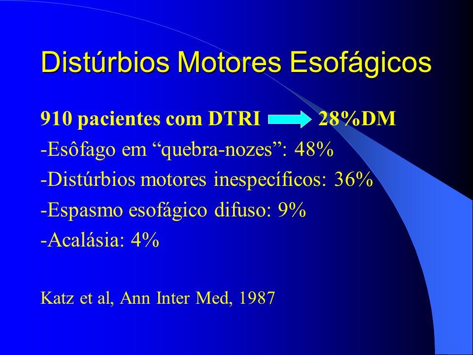 Distúrbios Motores Esofágicos 910 pacientes com DTRI 28%DM -Esôfago em quebra-nozes: 48% -Distúrbios motores inespecíficos: 36% -Espasmo esofágico dif