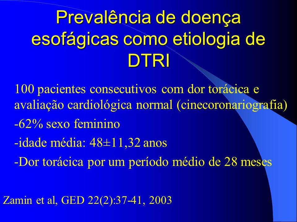 Prevalência de doença esofágicas como etiologia de DTRI 100 pacientes consecutivos com dor torácica e avaliação cardiológica normal (cinecoronariograf