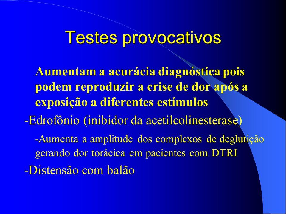 Testes provocativos Aumentam a acurácia diagnóstica pois podem reproduzir a crise de dor após a exposição a diferentes estímulos -Edrofônio (inibidor