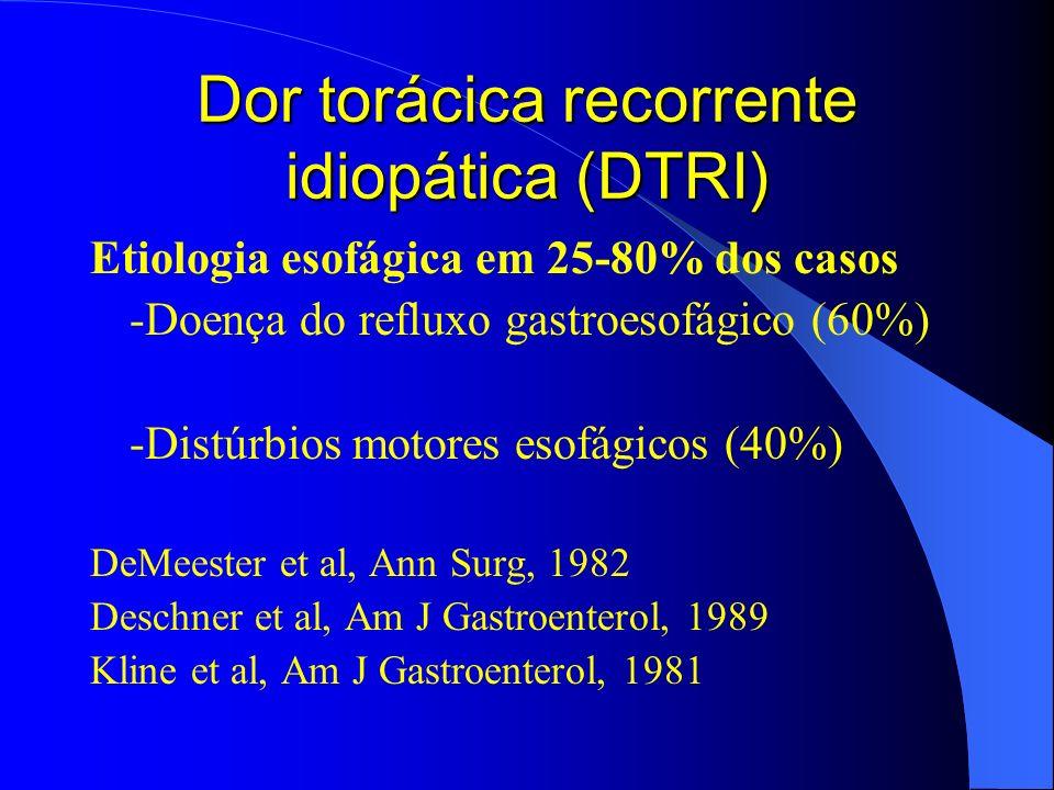 Dor torácica recorrente idiopática (DTRI) Etiologia esofágica em 25-80% dos casos -Doença do refluxo gastroesofágico (60%) -Distúrbios motores esofági