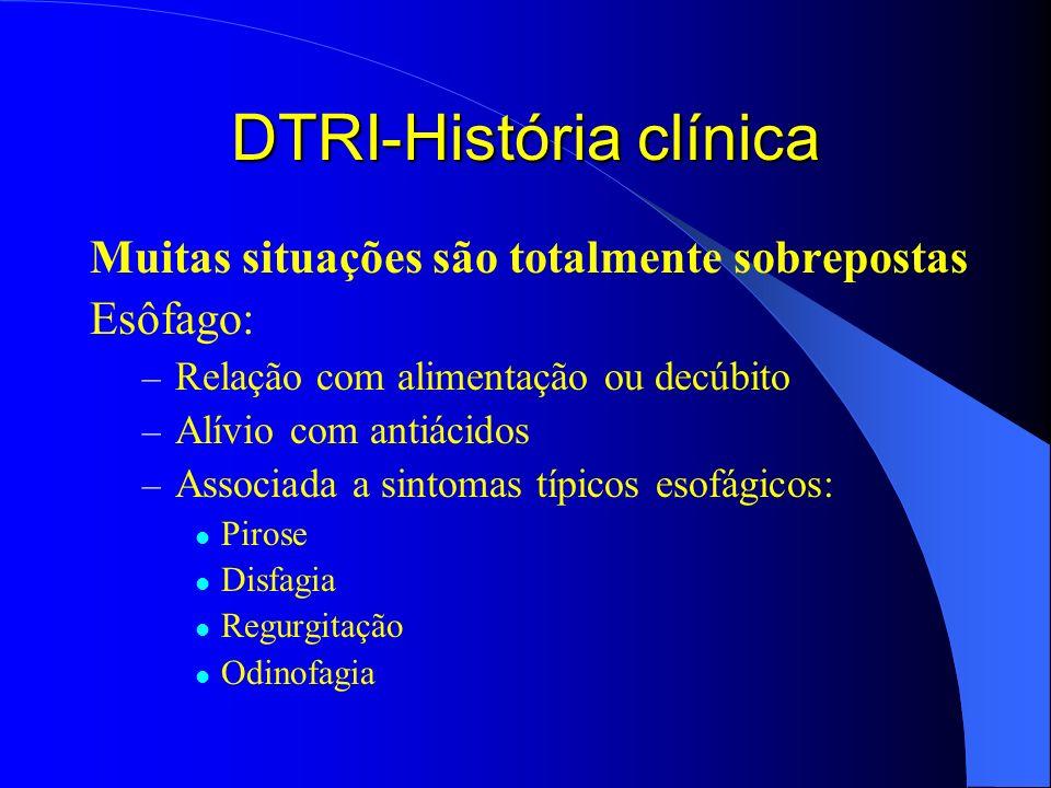 DTRI-História clínica Muitas situações são totalmente sobrepostas Esôfago: – Relação com alimentação ou decúbito – Alívio com antiácidos – Associada a
