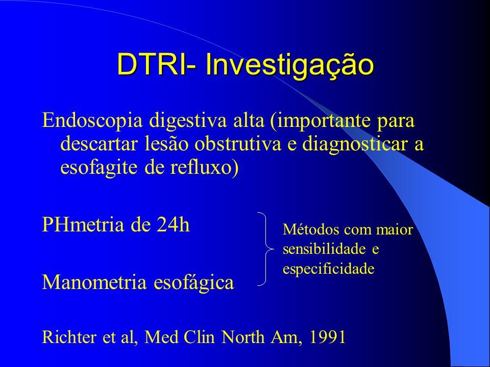 DTRI- Investigação Endoscopia digestiva alta (importante para descartar lesão obstrutiva e diagnosticar a esofagite de refluxo) PHmetria de 24h Manome