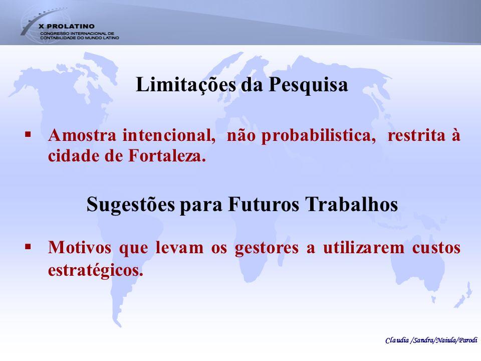 Limitações da Pesquisa Amostra intencional, não probabilistica, restrita à cidade de Fortaleza. Sugestões para Futuros Trabalhos Motivos que levam os