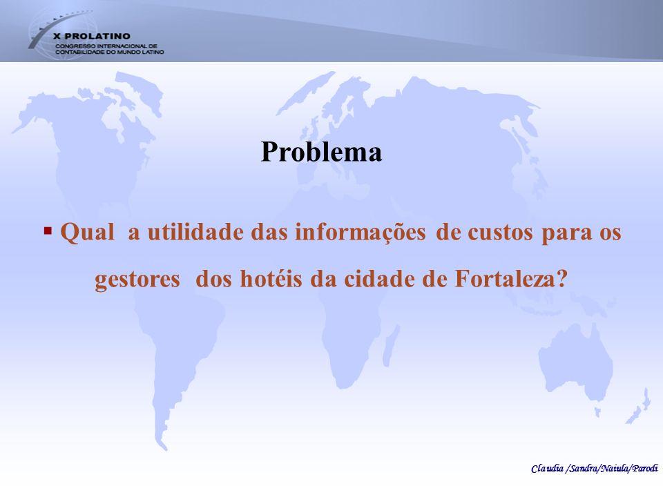 Problema Qual a utilidade das informações de custos para os gestores dos hotéis da cidade de Fortaleza? Claudia /Sandra/Naiula/Parodi