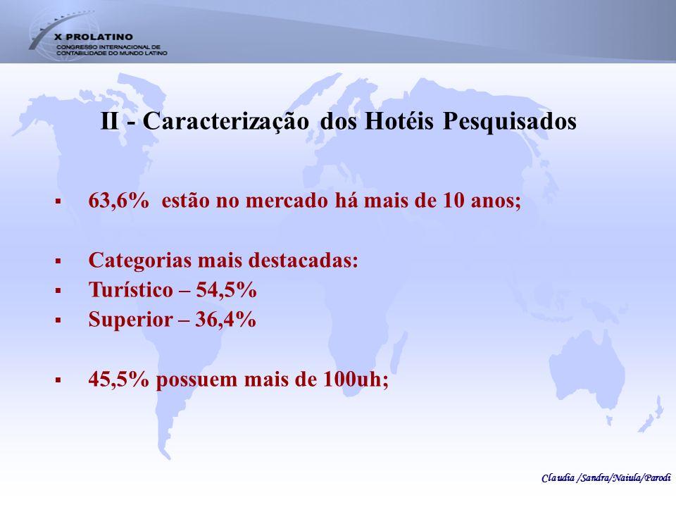 II - Caracterização dos Hotéis Pesquisados 63,6% estão no mercado há mais de 10 anos; Categorias mais destacadas: Turístico – 54,5% Superior – 36,4% 4