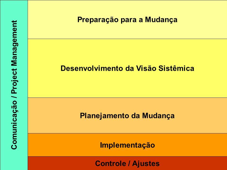 Preparação para a Mudança Desenvolvimento da Visão Sistêmica Planejamento da Mudança Implementação Controle / Ajustes Comunicação / Project Management