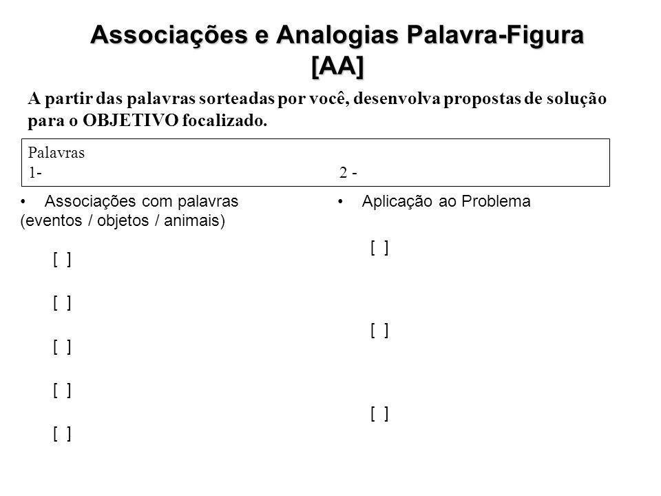 Associações com palavras (eventos / objetos / animais) [ ] Aplicação ao Problema [ ] Associações e Analogias Palavra-Figura [AA] A partir das palavras sorteadas por você, desenvolva propostas de solução para o OBJETIVO focalizado.