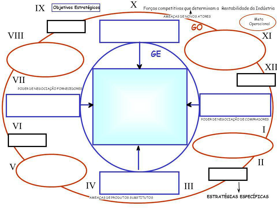 PODER DE NEGOCIAÇÃO DE COMPRADORES AMEAÇAS DE PRODUTOS SUBSTITUTOS AMEAÇAS DE NOVOS ATORES GE GO ESTRATÉGIAS ESPECÍFICAS Objetivos Estratégicos Forças competitivas que determinam a Rentabilidade da Indústria I II III IV V VI VII VIII IX X XI XII PODER DE NEGOCIAÇÃO FORNECEDORES Meta Operacional