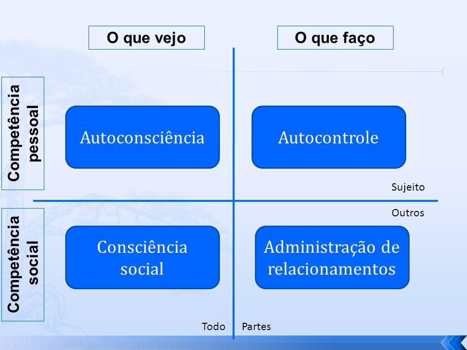 AutoconsciênciaAutocontrole Consciência social Administração de relacionamentos Sujeito Outros TodoPartes Competência pessoal Competência social O que