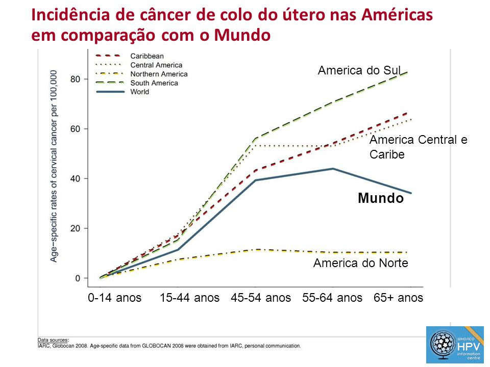 3 Mortalidade por câncer de colo do útero na América do Sul Mulheres de 15–44 anos1st 2 nd to 3rd 4 th to 5th 6 th and more No data Highest mortality rate = 1st.