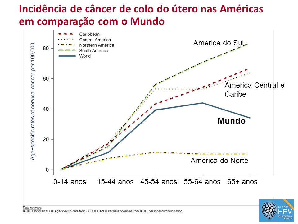 Incidência de câncer de colo do útero nas Américas em comparação com o Mundo America do Norte Mundo America do Sul America Central e Caribe 0-14 anos
