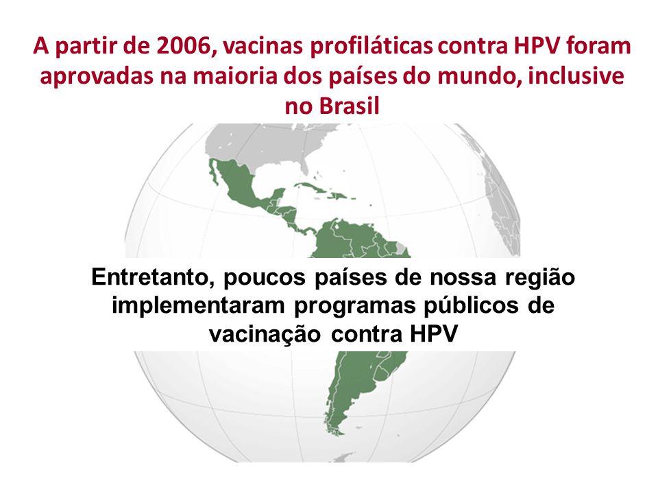 A partir de 2006, vacinas profiláticas contra HPV foram aprovadas na maioria dos países do mundo, inclusive no Brasil Entretanto, poucos países de nos