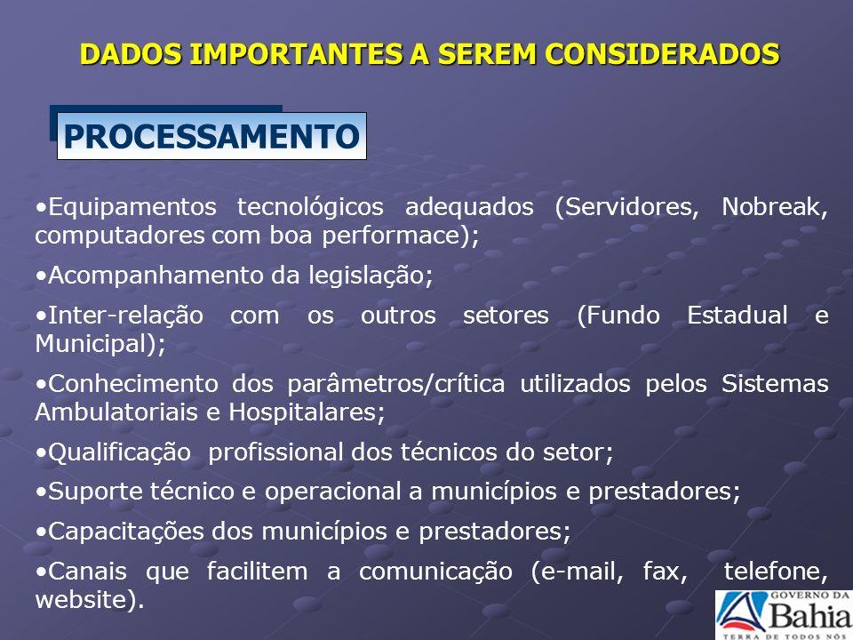 PROCESSAMENTO Equipamentos tecnológicos adequados (Servidores, Nobreak, computadores com boa performace); Acompanhamento da legislação; Inter-relação