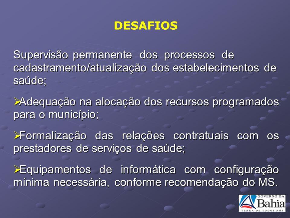 Supervisão permanente dos processos de cadastramento/atualização dos estabelecimentos de saúde; Adequação na alocação dos recursos programados para o