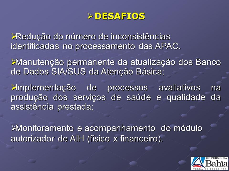 DESAFIOS DESAFIOS Redução do número de inconsistências identificadas no processamento das APAC. Redução do número de inconsistências identificadas no