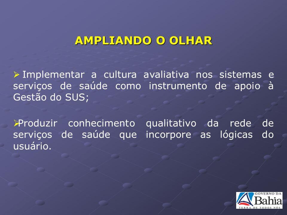 AMPLIANDO O OLHAR Implementar a cultura avaliativa nos sistemas e serviços de saúde como instrumento de apoio à Gestão do SUS; Produzir conhecimento q