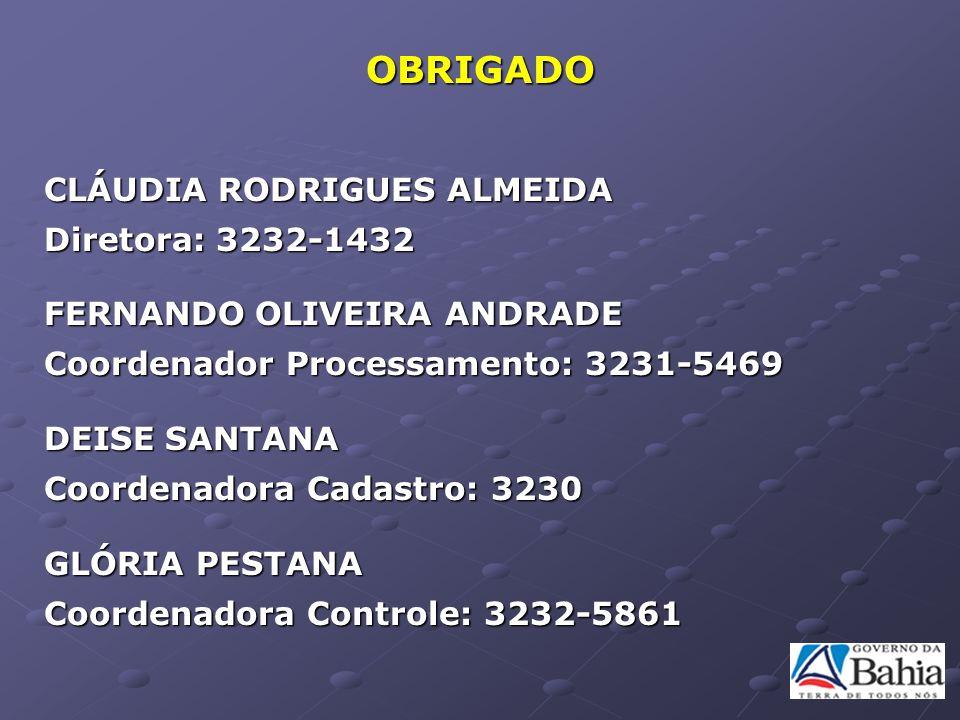 OBRIGADO CLÁUDIA RODRIGUES ALMEIDA Diretora: 3232-1432 FERNANDO OLIVEIRA ANDRADE Coordenador Processamento: 3231-5469 DEISE SANTANA Coordenadora Cadas
