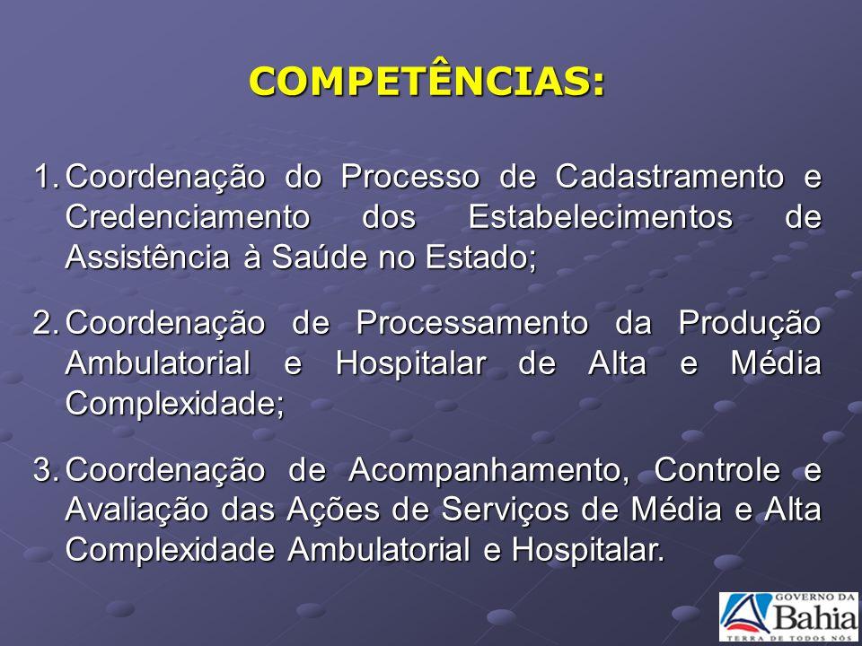 COMPETÊNCIAS: 1.Coordenação do Processo de Cadastramento e Credenciamento dos Estabelecimentos de Assistência à Saúde no Estado; 2.Coordenação de Proc