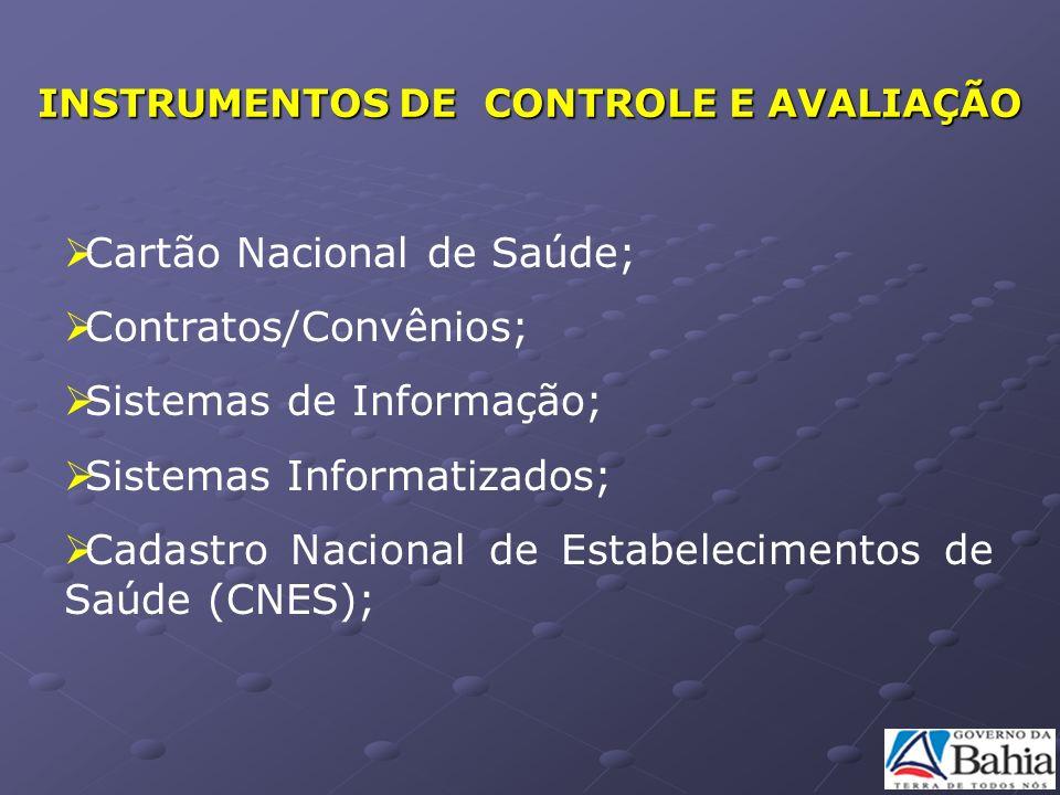 INSTRUMENTOS DE CONTROLE E AVALIAÇÃO Cartão Nacional de Saúde; Contratos/Convênios; Sistemas de Informação; Sistemas Informatizados; Cadastro Nacional