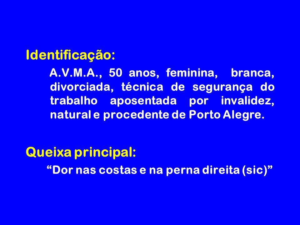 Identificação: A.V.M.A., 50 anos, feminina, branca, divorciada, técnica de segurança do trabalho aposentada por invalidez, natural e procedente de Porto Alegre.