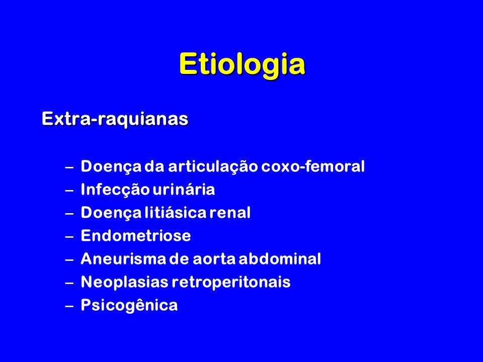 Etiologia Extra-raquianas –Doença da articulação coxo-femoral –Infecção urinária –Doença litiásica renal –Endometriose –Aneurisma de aorta abdominal –Neoplasias retroperitonais –Psicogênica