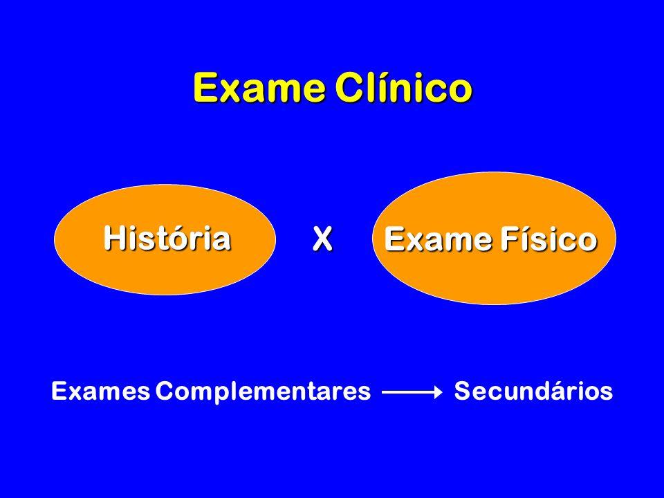 Exame Clínico História Exame Físico X Exames Complementares Secundários