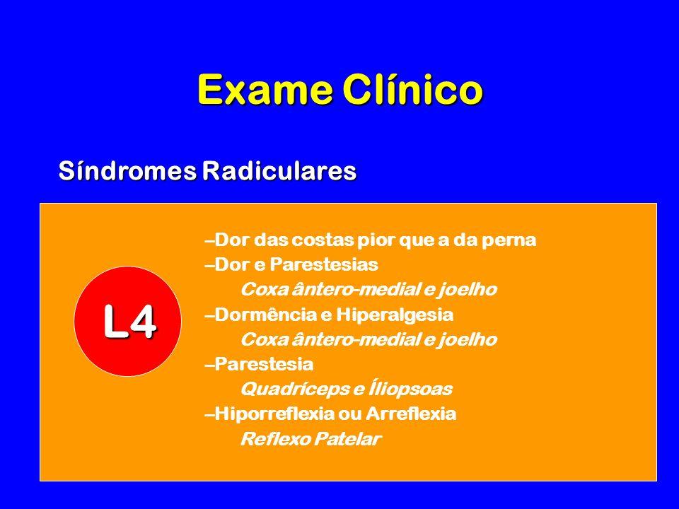 –Dor das costas pior que a da perna –Dor e Parestesias Coxa ântero-medial e joelho –Dormência e Hiperalgesia Coxa ântero-medial e joelho –Parestesia Quadríceps e Íliopsoas –Hiporreflexia ou Arreflexia Reflexo Patelar L4 Exame Clínico Síndromes Radiculares