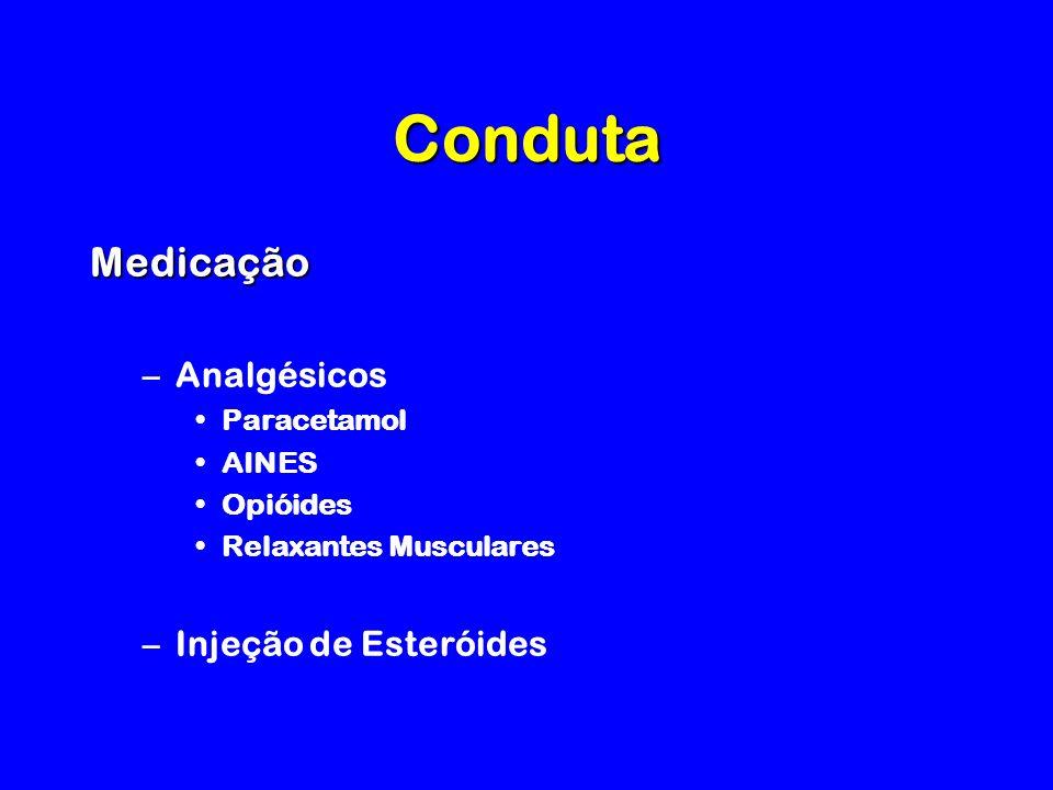 Conduta Medicação –Analgésicos Paracetamol AINES Opióides Relaxantes Musculares –Injeção de Esteróides