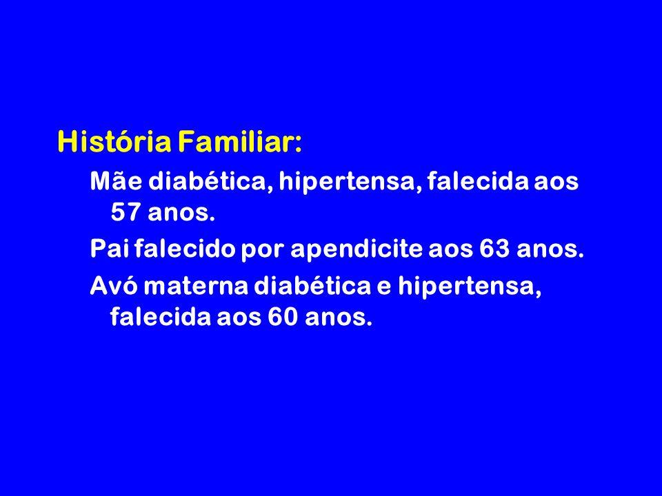 História Familiar: Mãe diabética, hipertensa, falecida aos 57 anos.