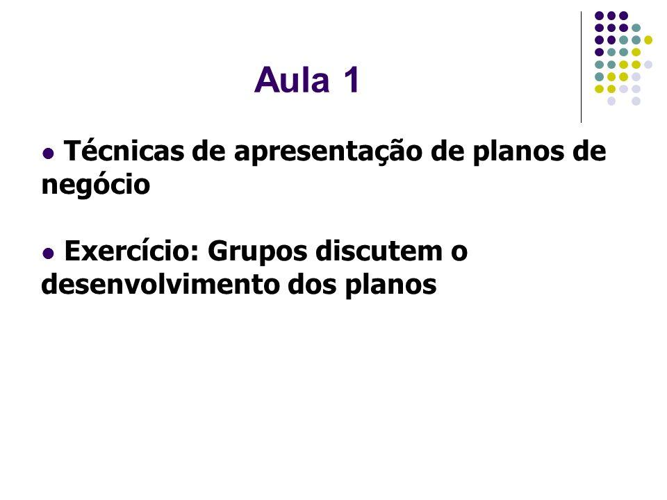Aula 1 Técnicas de apresentação de planos de negócio Exercício: Grupos discutem o desenvolvimento dos planos