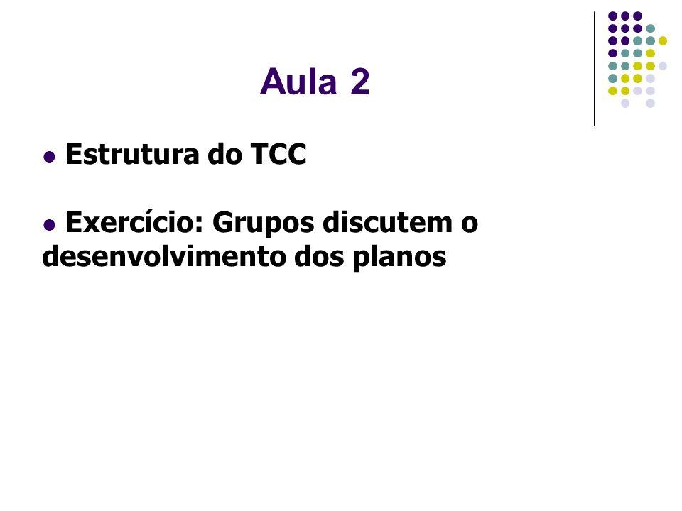 Aula 2 Estrutura do TCC Exercício: Grupos discutem o desenvolvimento dos planos