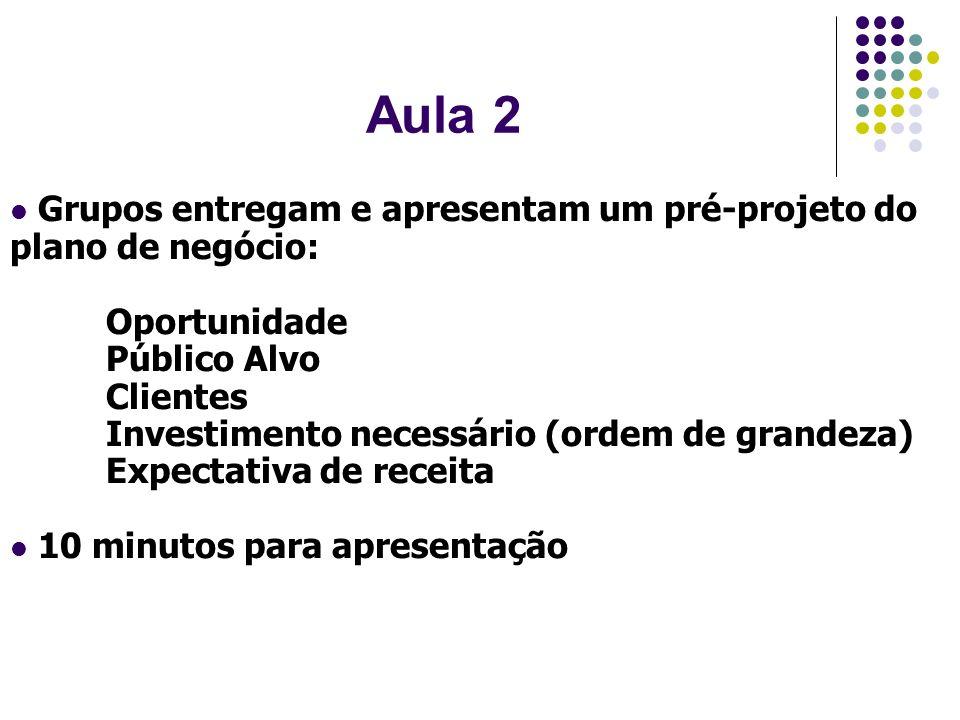 Aula 2 Grupos entregam e apresentam um pré-projeto do plano de negócio: Oportunidade Público Alvo Clientes Investimento necessário (ordem de grandeza)