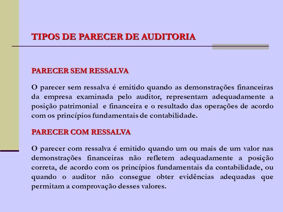 PARECER DE AUDITORIA O parecer do auditor, em condições normais, contém três parágrafos: - 1º parágrafo: determina e referencia o propósito de trabalho do auditor e a responsabilidade por ele assumida.