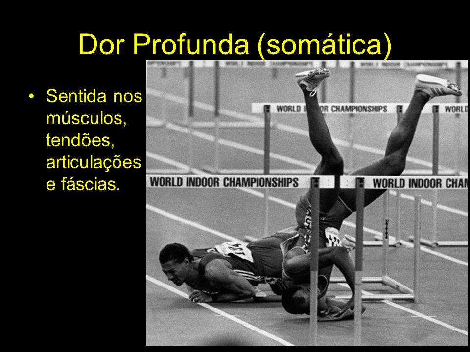 Dor Profunda (somática) Sentida nos músculos, tendões, articulações e fáscias.
