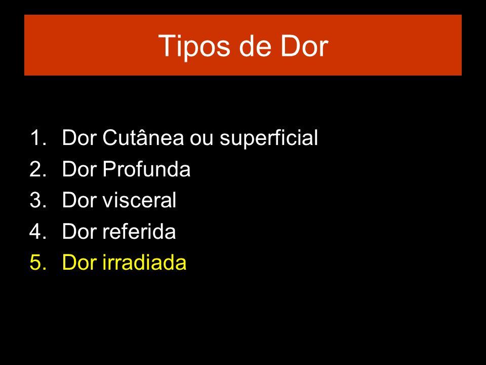 Tipos de Dor 1.Dor Cutânea ou superficial 2.Dor Profunda 3.Dor visceral 4.Dor referida 5.Dor irradiada