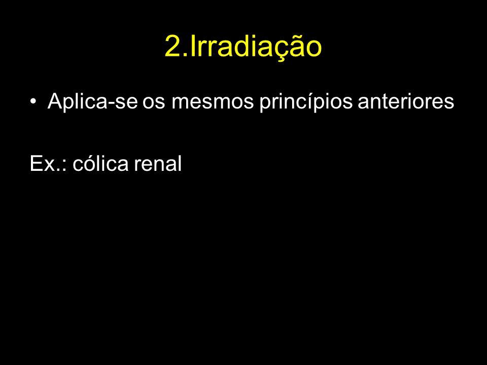 2.Irradiação Aplica-se os mesmos princípios anteriores Ex.: cólica renal