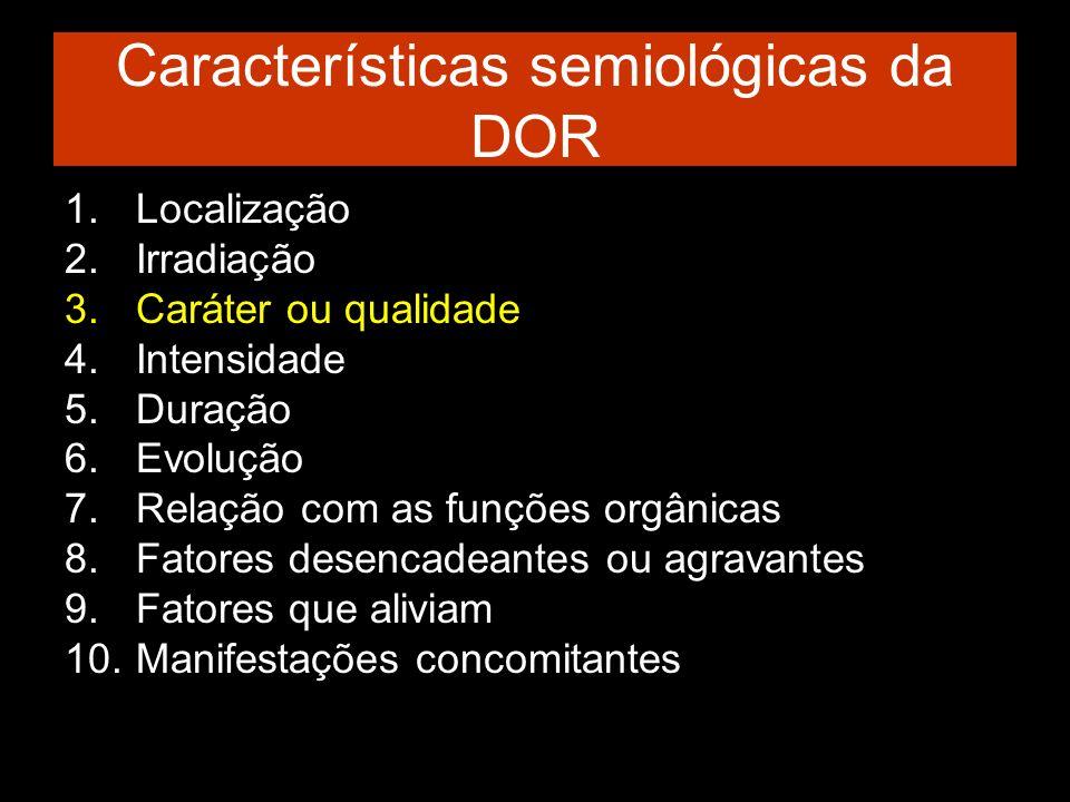 Características semiológicas da DOR 1.Localização 2.Irradiação 3.Caráter ou qualidade 4.Intensidade 5.Duração 6.Evolução 7.Relação com as funções orgâ
