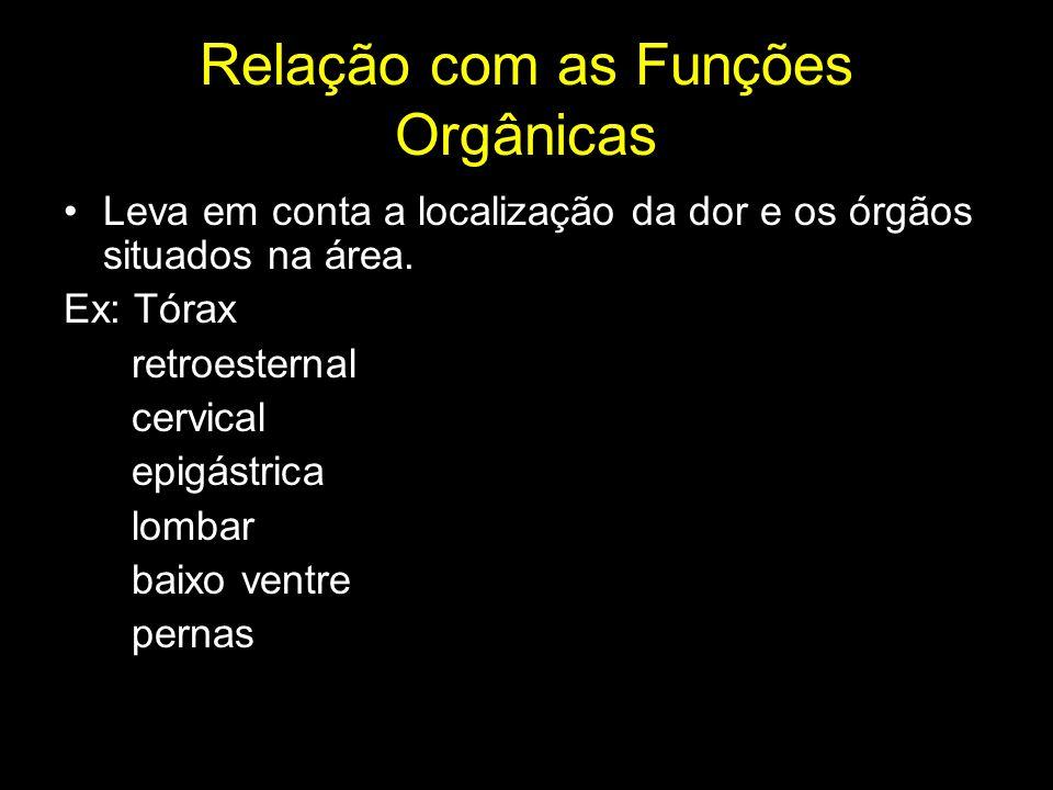 Relação com as Funções Orgânicas Leva em conta a localização da dor e os órgãos situados na área. Ex: Tórax retroesternal cervical epigástrica lombar