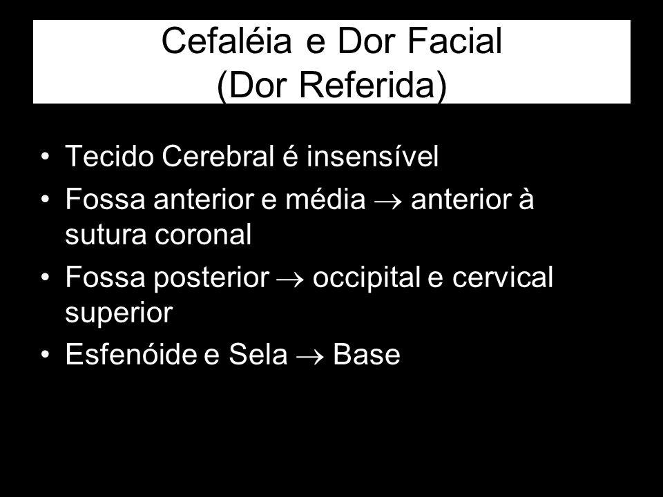 Cefaléia e Dor Facial (Dor Referida) Tecido Cerebral é insensível Fossa anterior e média anterior à sutura coronal Fossa posterior occipital e cervica