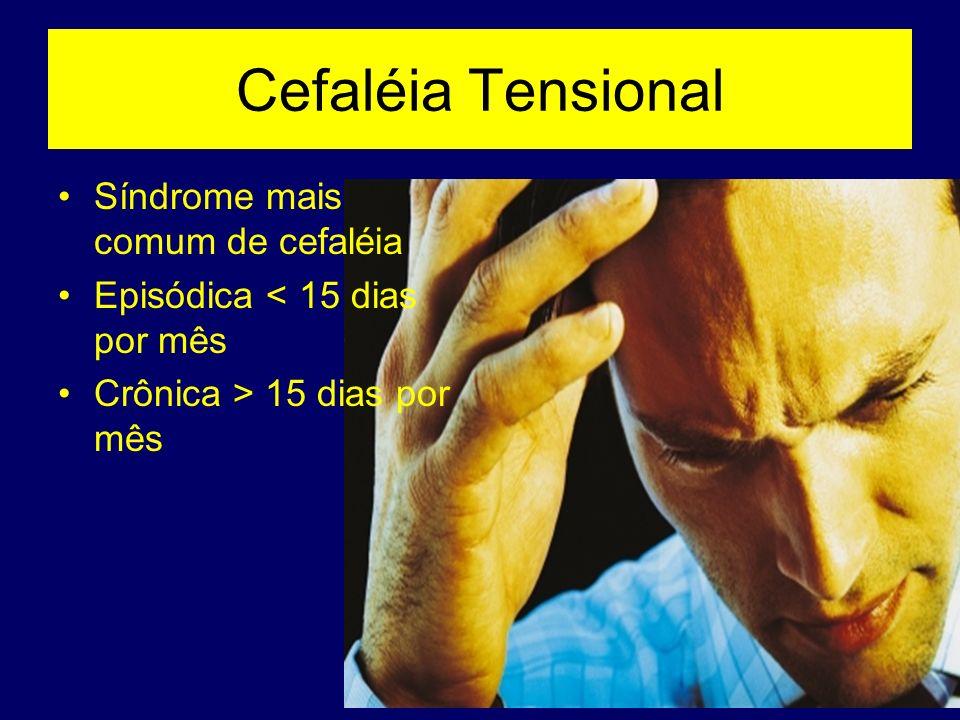 Cefaléia Tensional Síndrome mais comum de cefaléia Episódica < 15 dias por mês Crônica > 15 dias por mês