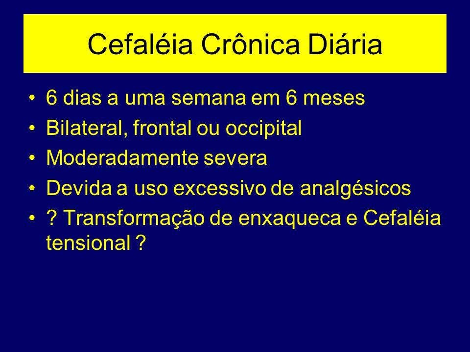 Cefaléia Crônica Diária 6 dias a uma semana em 6 meses Bilateral, frontal ou occipital Moderadamente severa Devida a uso excessivo de analgésicos ? Tr