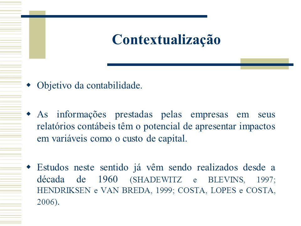 Contextualização Objetivo da contabilidade. As informações prestadas pelas empresas em seus relatórios contábeis têm o potencial de apresentar impacto