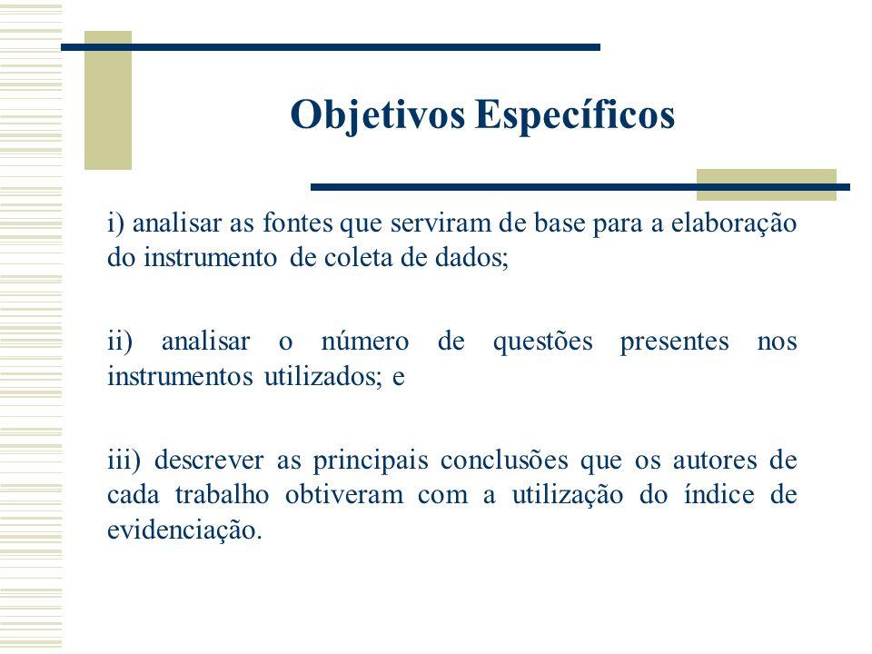 Objetivos Específicos i) analisar as fontes que serviram de base para a elaboração do instrumento de coleta de dados; ii) analisar o número de questõe