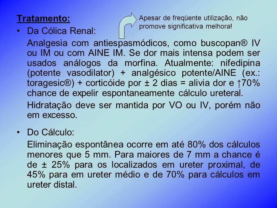 Tratamento: Da Cólica Renal: Analgesia com antiespasmódicos, como buscopan® IV ou IM ou com AINE IM. Se dor mais intensa podem ser usados análogos da