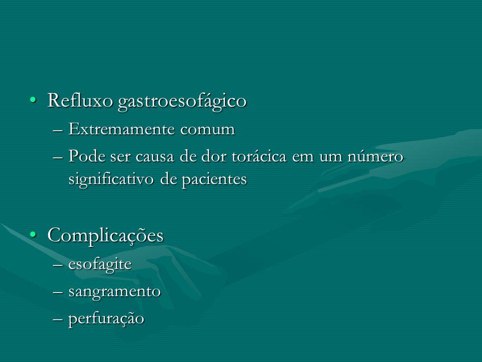 Refluxo gastroesofágicoRefluxo gastroesofágico –Extremamente comum –Pode ser causa de dor torácica em um número significativo de pacientes Complicaçõe