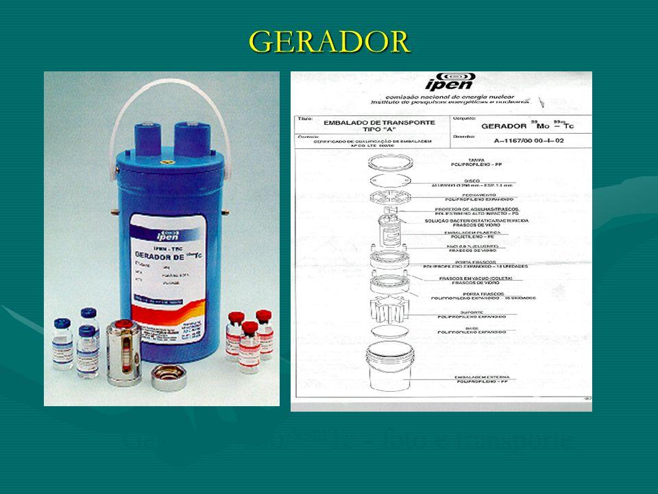 GERADOR Gerador 99 Mo/ 99m Tc - foto e transporte