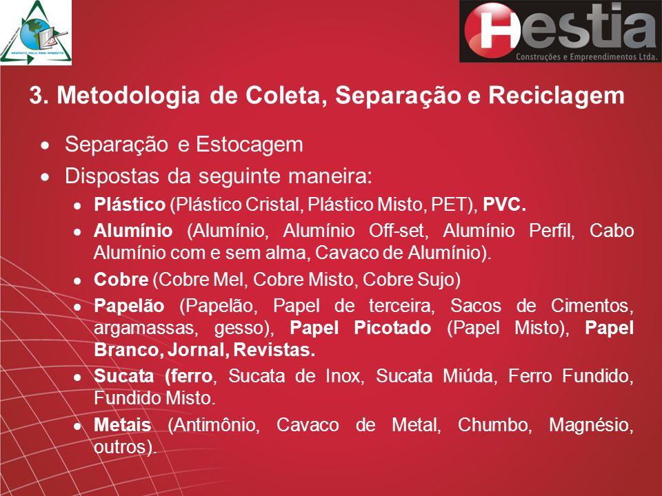 3. Metodologia de Coleta, Separação e Reciclagem Separação e Estocagem Dispostas da seguinte maneira: Plástico (Plástico Cristal, Plástico Misto, PET)